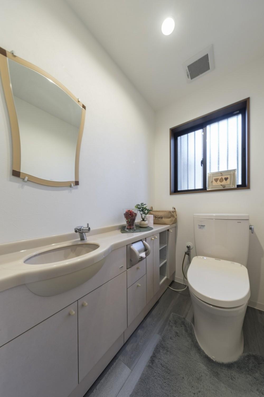 収納にこだわったプランで家事効率が劇的にアップ!アイランドキッチンが中心の快適空間 (シンプルエレガントなトイレ)