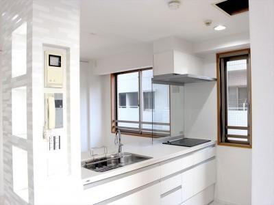 キッチン (爽やかで明るい白のリビング)