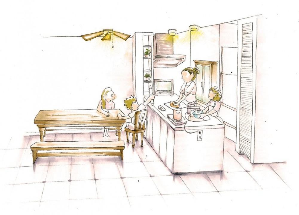 卓上IHコンロでセパレート可能なフリースタイルキッチン (キッチン)