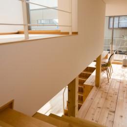 リビング・テラス、そして階段。大人も子どもも楽しく過ごせる家 (2階から階段を臨む)