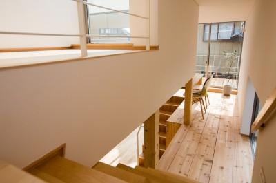 2階から階段を臨む (リビング・テラス、そして階段。大人も子どもも楽しく過ごせる家)