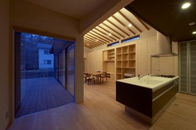 キッチン廻り(夜景) (軽井沢の家)