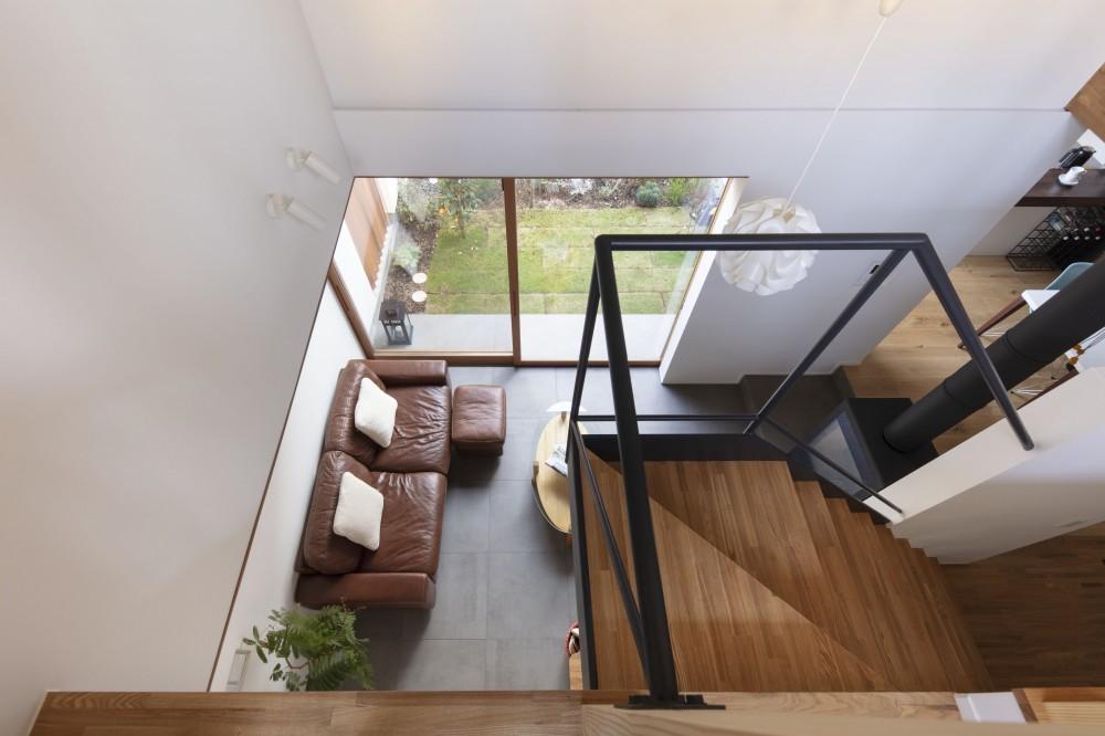 太子堂J邸 -路地裏に建つ雨宿りの家- (吹抜からリビングを見降ろす)