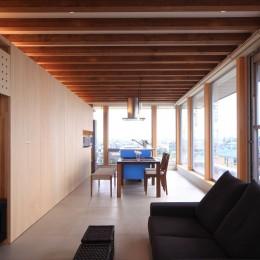 清流の家~眺望のよい2世帯住宅~ (化粧梁がリズム感を生む)