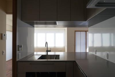 台所から居間への眺め。 (神楽坂の家 回遊できる小さな木の家|改修)