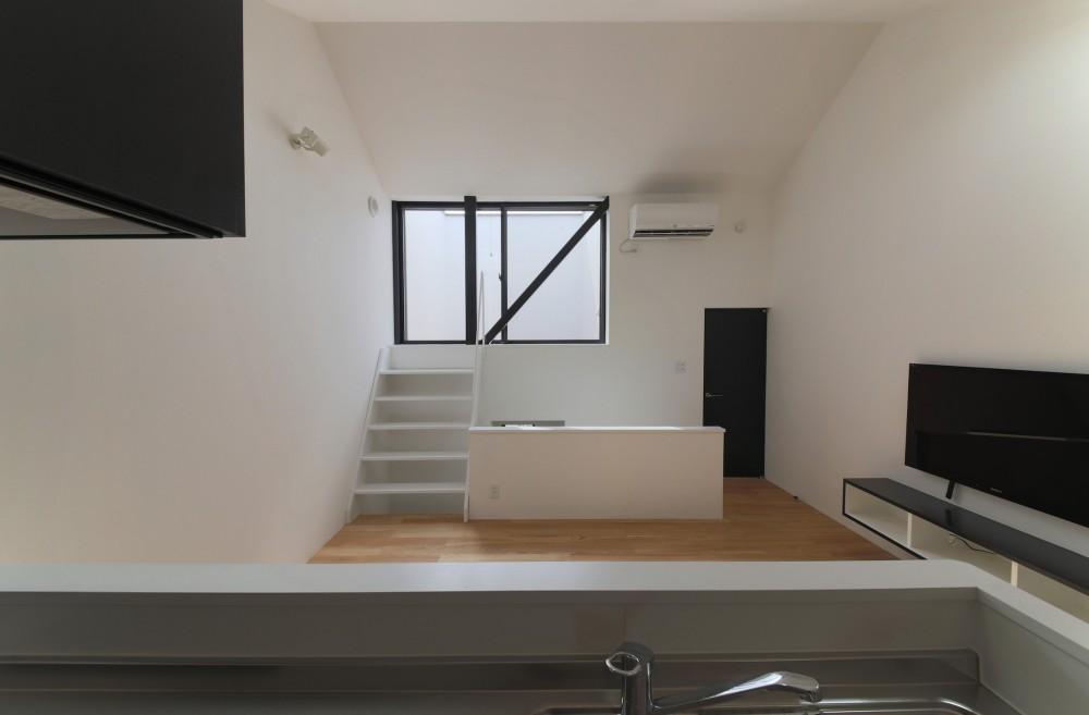 ピアノ室のある狭小住宅・スキップフロアを生かしたOUCHI-29 (リビングから屋上テラスを見る)
