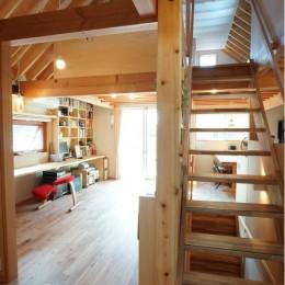 ののの家―コンパクトな2世帯住宅-スタディールームと階段