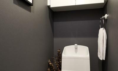 黒が際立つ渋めの我が家 (トイレ)