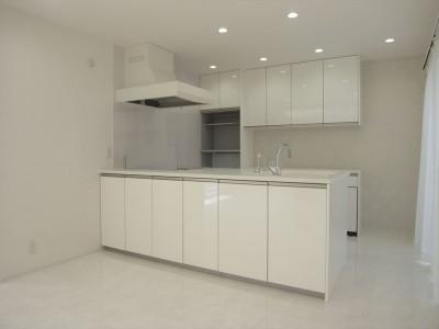 キッチン (ホワイトを基調にした明るく高級感のある空間)