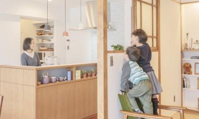 WAKON - 和魂洋才!?飾って囲って収納力UPの駅近マンションリノベーション (キッチン)