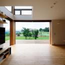 蓮田の家-大きな窓とデッキのある二世帯住宅-の写真 リビング