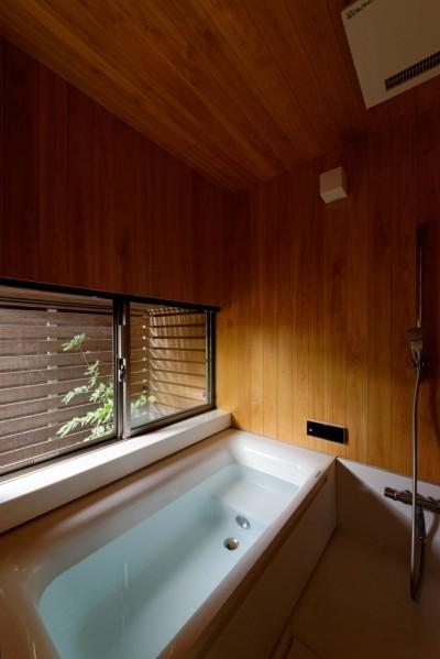 桧風呂 (蓮田の家-大きな窓とデッキのある二世帯住宅-)