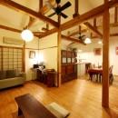 和室をなくし、料理教室が開ける広々DKへ。床も張替えて、レトロモダンなダイニングに。の写真 リビング/ダイニング