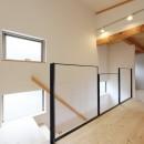デザイナーズチェアが映えるシンプルに魅せる家の写真 階段