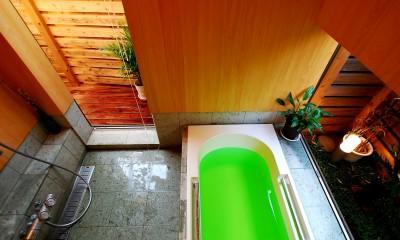 印旛の家 -終の棲家 緑の中に建つ平屋- (浴室)