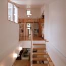 浅草の家―2階にある庭の写真 階段越しに2階のダイニングと、3階の子供スペースを見る