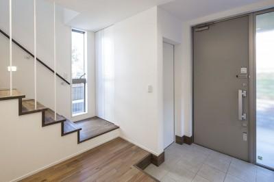 玄関ホールと階段 (三つの陸屋根を持つコートハウス)