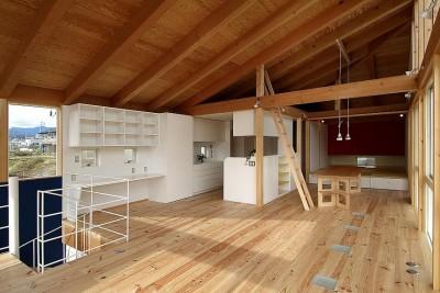 二世帯で楽しく暮らす家 吾妻川の家 (子世帯リビング)
