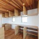カーテン要らずの爽快な暮らし。高台立地で選ぶ、2階LDK。「非日常が日常になる家」の写真 キッチン収納