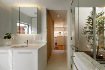 浴室洗面室 (二世帯の生活を中庭が繋ぐ( 大東の家 ))