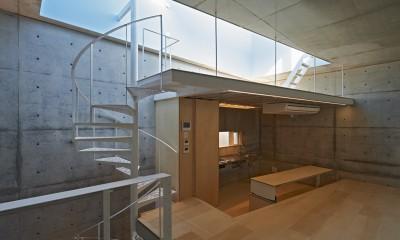 地上に浮いた地下の家 -高密度商業地域に立つRC3階建ガレージハウス-