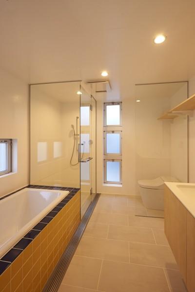 バスルーム (地上に浮いた地下の家  -高密度商業地域に立つRC3階建ガレージハウス-)