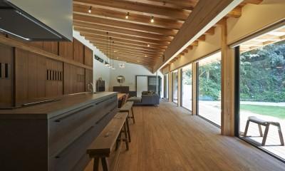 稲村ヶ崎の住宅 - 建物と自然からうまれる平屋中庭住宅 - (キッチン側からの眺め)