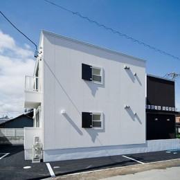COPAIN HOUSE/四角のシンプルアパートメント (外観-側面)