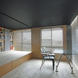 可動本棚の家 -可動家具・可動間仕切りで間取りの変わる家--リビングワンルーム状態