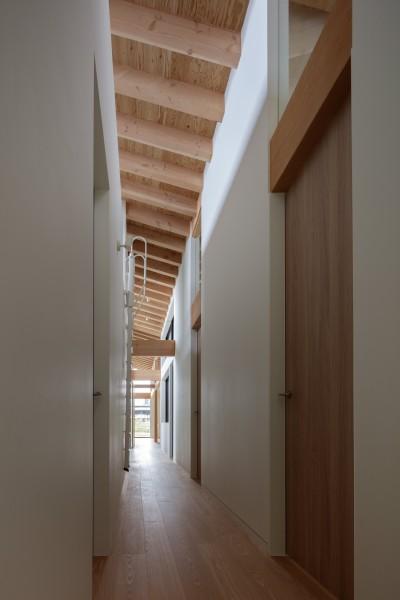 長さ23メートルの貫通廊下 (佐倉の別荘 子育て世代の週末住宅)