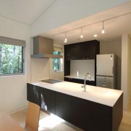 富士山麓の別荘 カラマツ林の傾斜地に建つ別荘 (オープンキッチン)