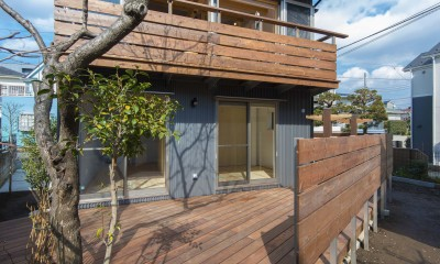 ウッドデッキとバルコニー|五つ葉の家|狛江市(注文住宅)