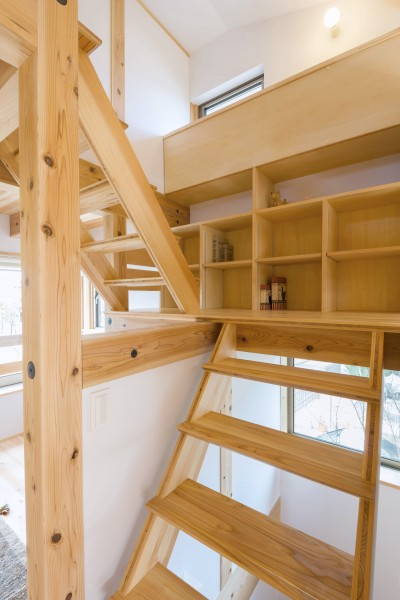 五つ葉の家|狛江市(注文住宅) (造作階段・本棚)