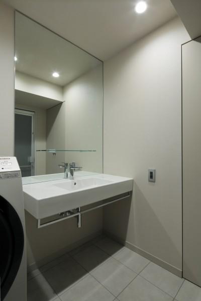 洗面室 (白金台N邸  光を取り込む斜めリビングの家)