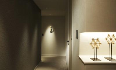 有栖川の家  公園を取り込むルーバー天井 (ギャラリーのような廊下2)