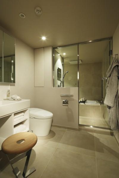 洗面室・浴室 (有栖川の家  公園を取り込むルーバー天井)