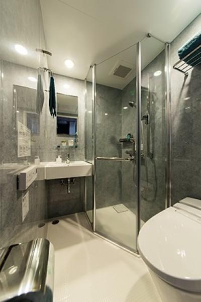 洗面/シャワールーム (クリエイティブな職業の方向けマンション/可動する書斎のあるお部屋)