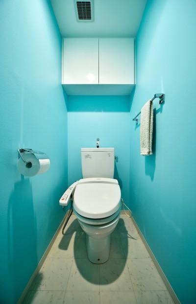 ブルーの爽やかなトイレ (単身リノベはリラックスできる癒し空間)