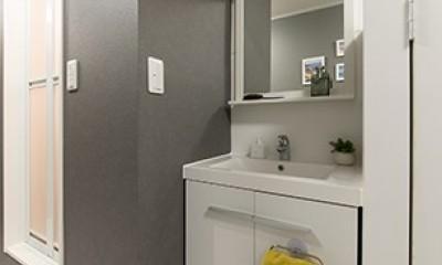男性単身者向けのマンション/狭さを感じさせないワンルーム (洗面)