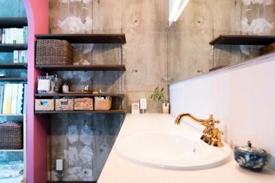 おしゃれな蛇口の洗面所 (植物と書道家とルイスバラガンと)