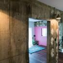 植物と書道家とルイスバラガンとの写真 ペイントが可愛い廊下
