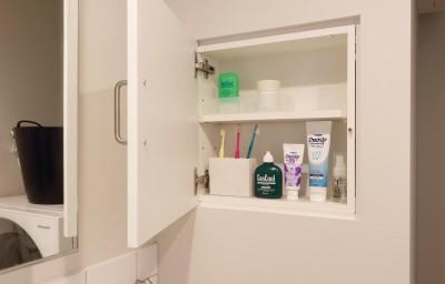 洗面室の収納 (ミニマムな北欧空間)