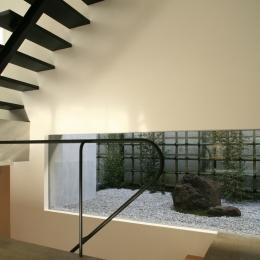W-house (階段と庭)
