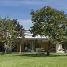 軌跡の家-庭から望む家