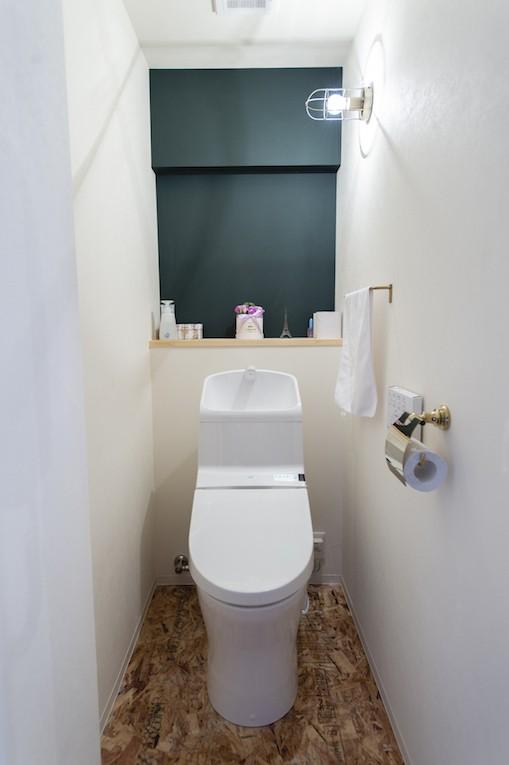 ミニマルなおもてなしの家 (緑の壁がおしゃれなトイレ)