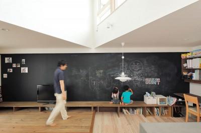 黒板ベンチ (三角屋根の家)
