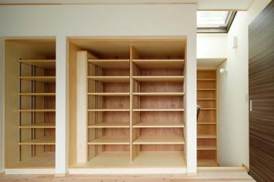本棚と天窓 (本の家)