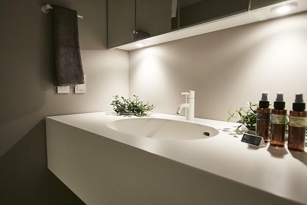 「GREEN DAYS」リノベーション×室内緑化で、理想の住まいを形にしていく (洗面室)