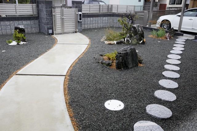 青い門形平屋の家 (外観2)