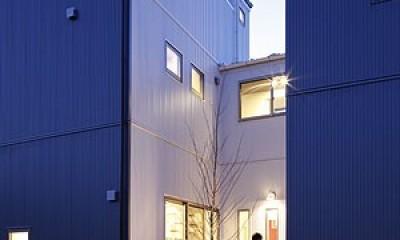 中庭と屋上とステージがある白と黒の家 (外観4)